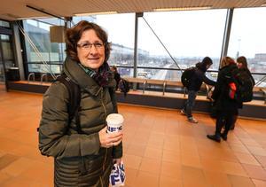 Pamela Sjödin Campbell från Partille på väg till Uppsala via Västerås och Sala.