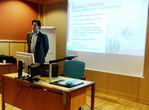 Peter Östling presenterade Moberg Pharma AB.   Foto: Karen Moe Jönsson