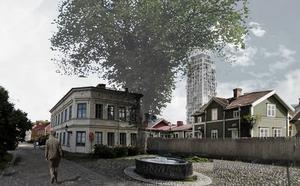 I detaljplanen för skyskrapan i Gävle står det att det kan bli möjligt att riva Tullbomsgården intill Folkets Hus.