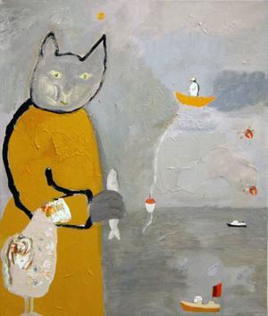 Kattfiske på Lofoten, djuren kliver in i Gothes bilder