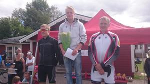 Prispallen i herrklassen med vinnaren Markus Stenberg (Svegs IK) i mitten, Tobias Wallenqvist (Åre bergscyklister) t.v. och Ola Wallin (Svegs IK) t.h.