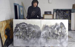 Fredrik Wimmercranz med ett stads- och ett skogsmotiv, gjorda som samma andas barn.
