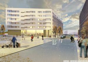 Här är en bild sedd från Köpmangatan med Kringlanhuset till höger. Det ska vara bostäder i de övre fem våningarna och under finns det lokaler för butiker och affärsverksamhet.