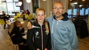Borlänges Hannah Holgersson tillsammans med coachen, Fredrik Bergvall. Foto: Privat
