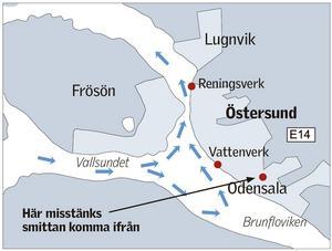 Så strömmar vattnet i Storsjön. (Klicka på bilden för att få den större)Grafik: Kjell Nilsson-Mäki