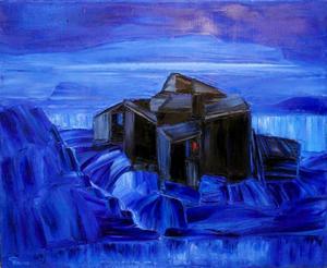 Ödehus i blått landskap av Bengt Ellis.