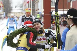 Katerina Smutna och Britta Johansson Norgern efter målgången i Mora.
