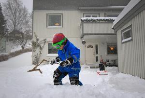 Sigge Thorén, 4 år, uppskattade snön som föll på fredagen.