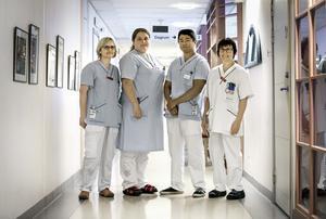 Marie Aronsson, Johannna Grönqvist, Simon Rosdahl och Kerstin Andersson på geriatriska kliniken på USÖ