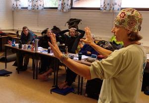 Lena Conlan, utbildningsansvarig på Nols, var en av instruktörerna, här i klasrumemt för teori.