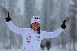 Charlotte Kalla var lycklig efter segern i Gällivarepremiären under fredagen