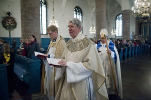 Intresset var stort för Thorhallur Heimissons första gudstjänst i Falun.
