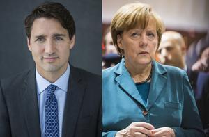 Kanadas premiärminister Justin Trudeau och Tysklands förbundskansler Angela Merkel.