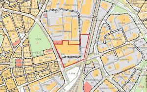 Kartan visar Kopparlunden. Området inringat med rött är en av fyra etapper där det ska bli bostäder, kontor med mera.