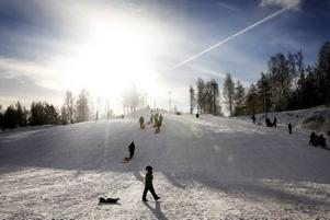 SOLIGT. Perfekt väder för en friluftsdag hade barnen som var i pulkabacken i Högbo i går.
