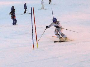 Elin Alkell, Vemdalens IF knep en sjätteplats i slalomtävlingen.