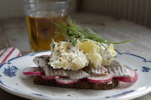Danskinspirerat smörrebröd med matjessill och färskpotatissallad.   Foto: Jonas Ekströmer/TT