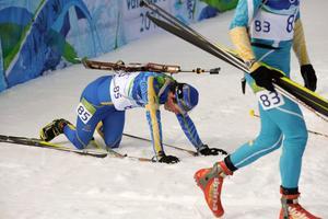 Fredrik Lindström pustar ut efter sprinttävlingen i Vancouver.