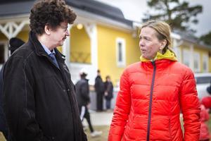 Lars Stjernkvist passade på att umgås med barndomskamraten  Anneli Aspengren Sköld.