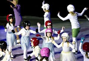 ALLA PÅ PLAN. Här är det skridskoskolans drygt 40 barn som visar upp sina färdigheter för publiken på Läkerol Arena i går.