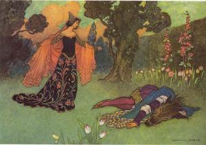 Skönheten hittar Odjuret döende i hjärtesorg. Illustarion av Warwick Goble från 1913.