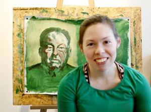 Porträttmålaren Linda Svedberg höll öppen ateljé.