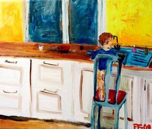 Ur en småbarnsmammas vardag. Elin Forsells måleri talar direkt till betraktaren.