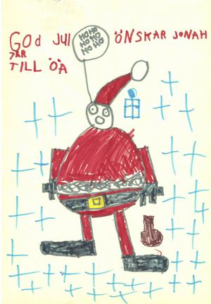 God jul önskar Jonah Halsius, 7 år, från Själevad. Han har ritat en tomte som kommer med klappar till ÖA och dess läsare med ett rungande