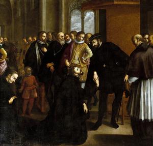 Helgonet Frans Xavier, grundaren av jesuitordern, tar farväl av Portugals kung Johan III innan han beger sig av på sin expedition till Indien 1541. Målning  av José de Avelar Rebelo från 1635.