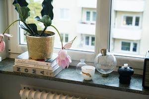 Gröna växter gör att intrycket i det vita köket blir varmare. Rosenskärm i guldkruka från Svenskt tenn.