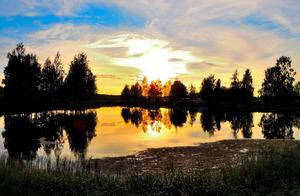 Solnedgång över Krokomsviken.