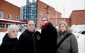 Vill ha fler lärarledda lektioner. Från vänster Amanda Johansson, Johan Larsson, Erik Brunnert-Walfridsson och Sara Pontén.  FOTO:STAFFAN BJÖRKLUND
