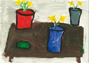Moa Levin, 8 år, hade målat av Carl Kylbergs Bord med krukor och gurka.