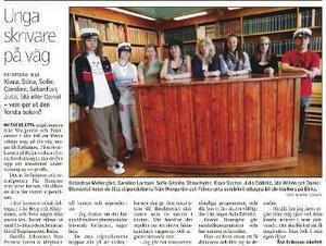 2 juni 2009 presenterade vi de åtta elever från Jämtlands gymnasium som fick stipendier till fjolårets skrivarkurs på Birka.
