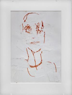 Joyce Carol Oates II. Teckning och kollage.