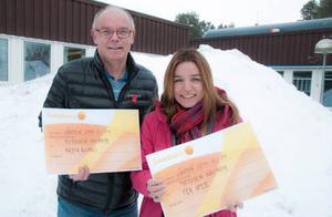 Den politiska kommunledningen i Åre, Leif Nord, M, och Anna-Caren Sätherberg, S, gratulerar OS-idrottare med stipendium.