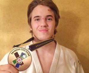 Victor Allansson, Östersunds judoklubb, med bronsmedaljen från Europacupen i finska Tammerfors.