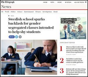 Rubriken på The Telegraphs webbplats.