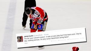 Jared Aulin lämnade isen med smärtor.