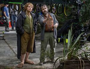 Martin Freeman, som spelar Bilbo, och Peter Jackson.