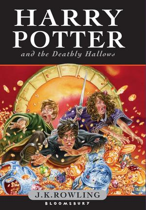 Dödsreliker. Den engelska bokens omslag: Harrry Potter and the deathly hallows Foto: Bloomsbury UK