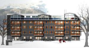 Brf Alpinhuset, med 27 lägenheter och 3 butiker, byggs på Årevägen mellan Dähliehuset 2 och Bysshuset. Så här ska fasaden se ut söderifrån.  Foto: Illustration Rolf Bergsten