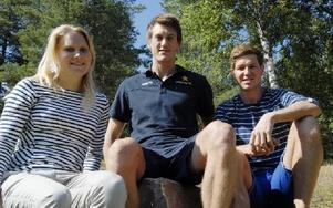 Hanna Brodin, Johan Edin och Martin Johansson tillhör B-laget men de tränar med A-landslaget i Torsby den här veckan. Foto: Gunnar Bäcke
