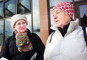 Astrid Johannesson och Ulla Nilsson, Östersund:– Toppen. Ljusspelen är fantastiska, OS-hjältarna här på torget och längdskidåkningen i dag har varit mycket bra, säger Astrid Johannesson, till vänster.– Det är väl satsade pengar och det måste göras igen, säger Ulla Nilsson.