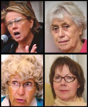 Starka kvinnor. Svenska kvinnor har mer än andra visat världen att de står för konliktlösning utan våld, menar insändarskribenten. På bild syns Maria-Pia Boéthius, Kerstin Ekman, Maj-Britt Theorin och Eva Moberg.