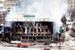 Eskilstuna 25 februari 2009. Polisen                           misstänker att branden på stadshotellet var anlagd.