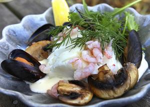 Varsamt kokt torsk med västkustgarnityr bestående av räkor, musslor och svamp. Allt i en sammetslen vitvinssås.    Foto: Dan Strandqvist