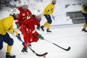 Ida Sundell jobbar hem och försöker styra bort ett av Team Hälsinglands anfall i lördagens match med Härnösand på Östersund Arena.