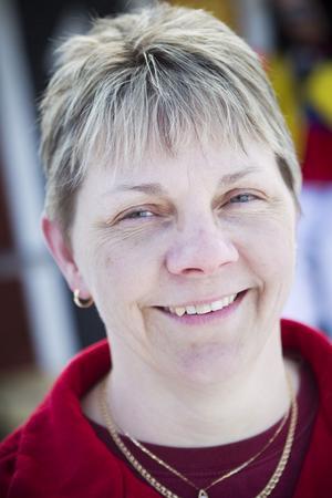 Klubbens ordförande, Karin Wexell, stortrivdes med vädret, människorna och självklart skotrarna.