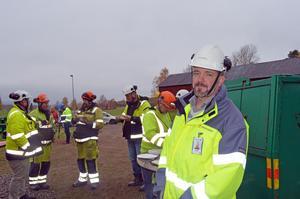 Lars-Erik Håkansson, enhetschef på Trafikverket i Borlänge, höll i dagens manifestation för säkerhet och arbetsmiljö.